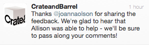 Tweet from Crate and Barrel Corporate