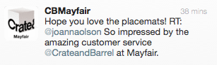 Tweet from Crate and Barrel Mayfair