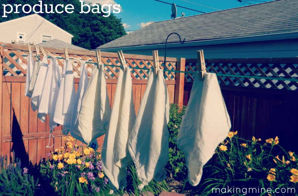 produce bags drying on the laundry line
