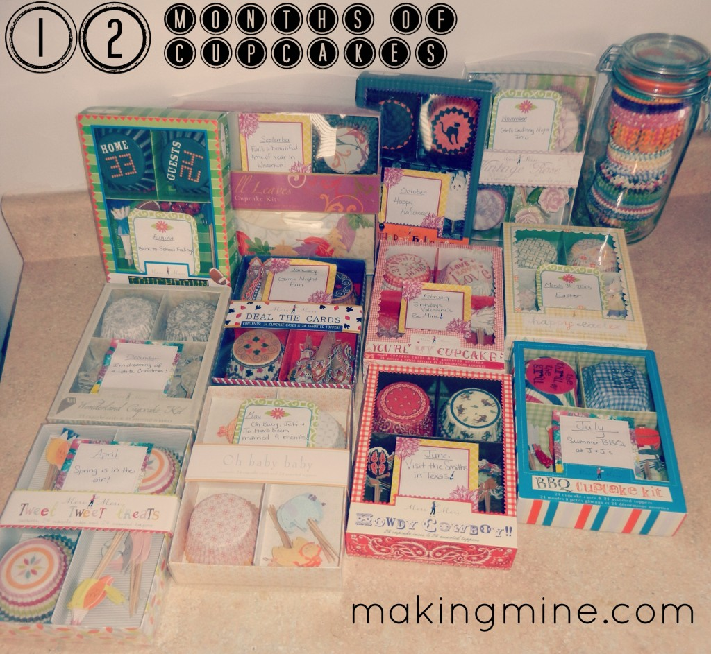 12 cupcake kits for every month in a year