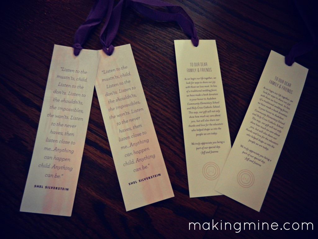 wedding guest favors bookmarks