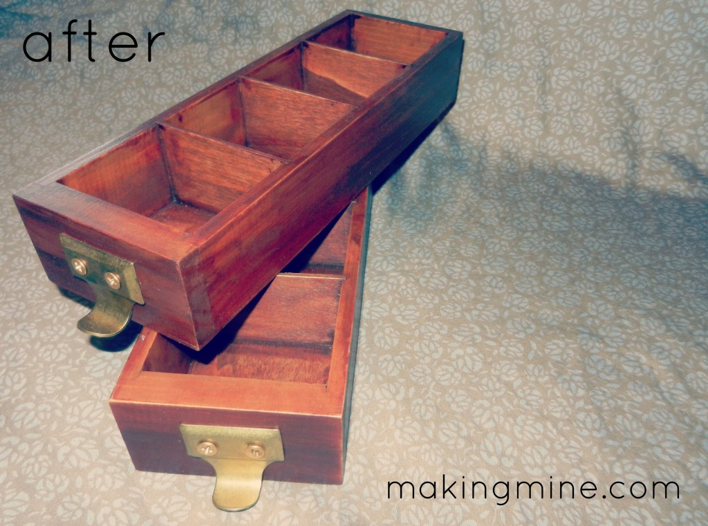 wooden drawers made into card catalog