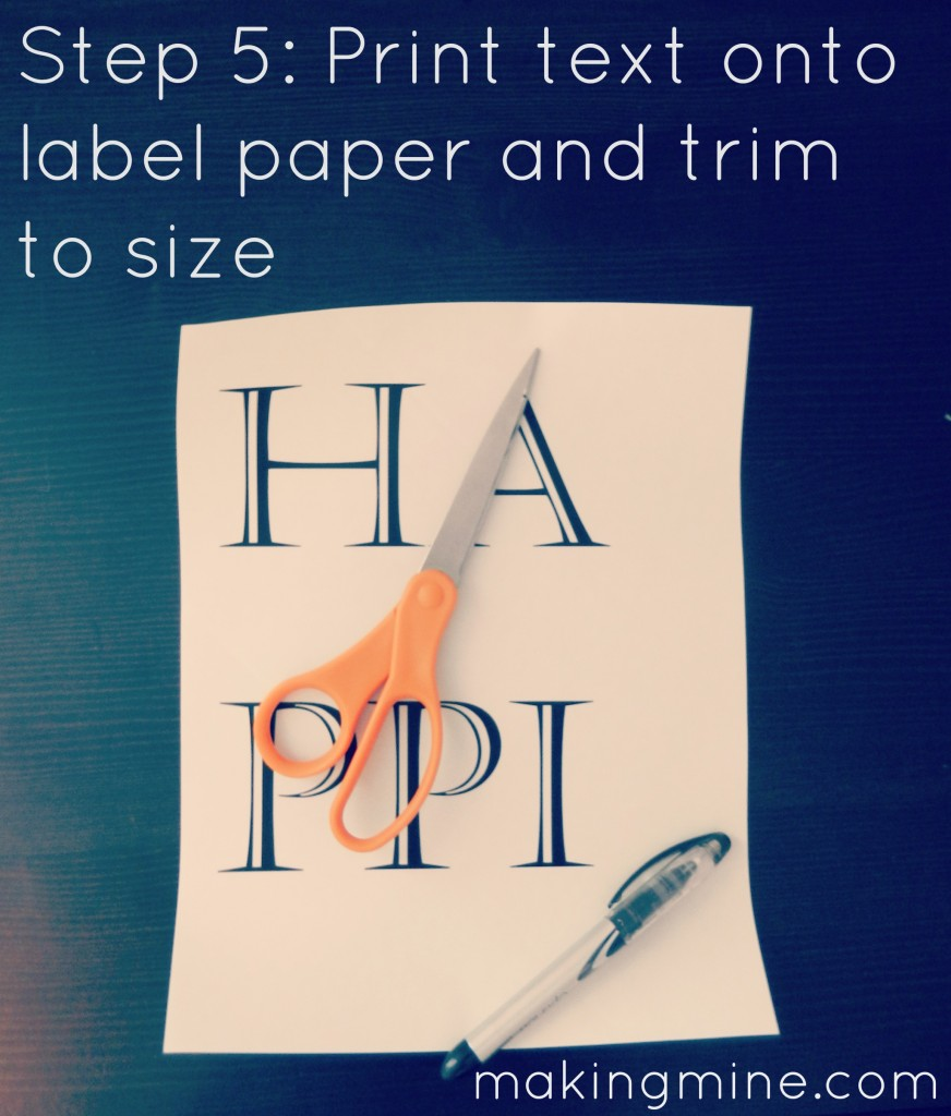 Print text on label paper and trim to size