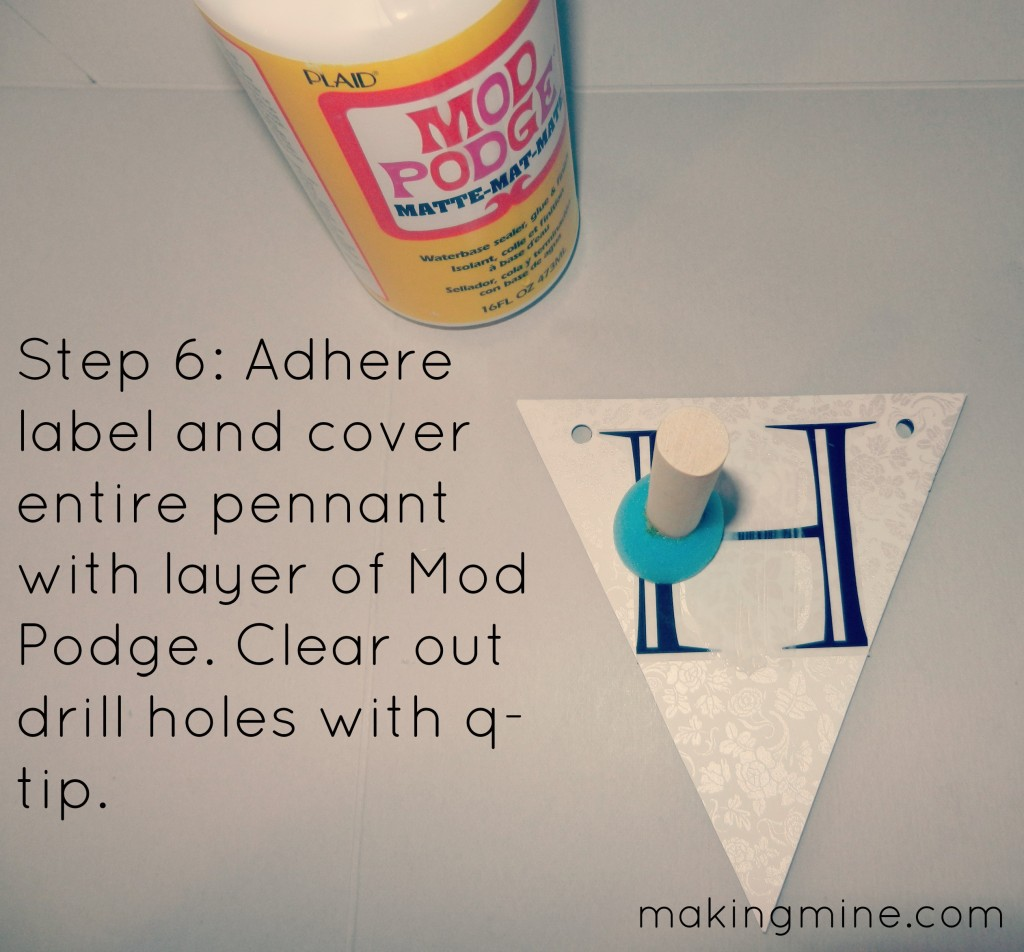 Adhere label and cover entire pennant with layer of mod podge