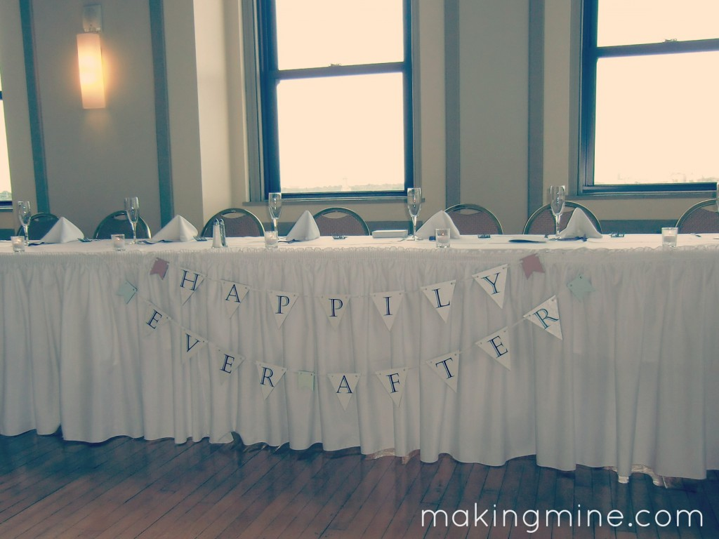 Completed banner hanging in reception hall: Happily Ever After