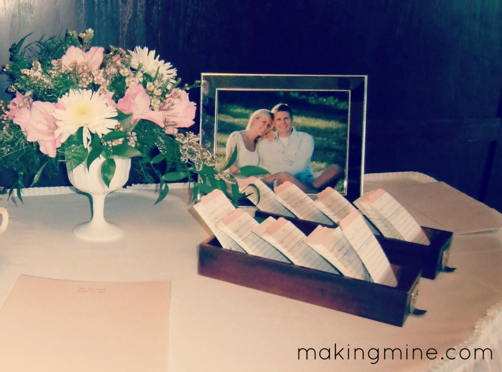 card catalog seating cards for wedding