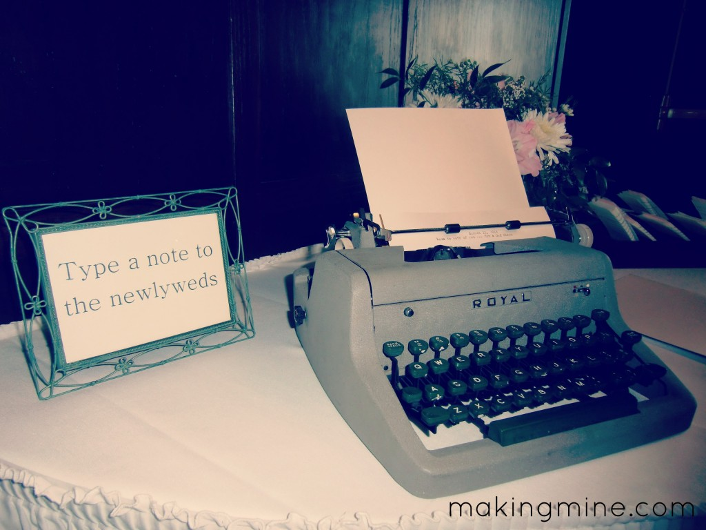 "typewriter guestbook for wedding ""type a note to the newlyweds"""