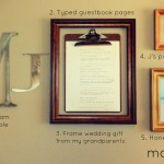 wall collage with made from sentimental items