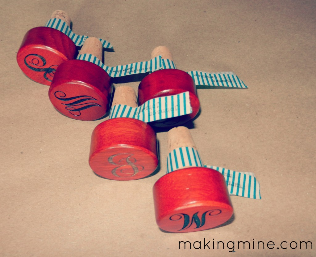 monogramed wine stoppers