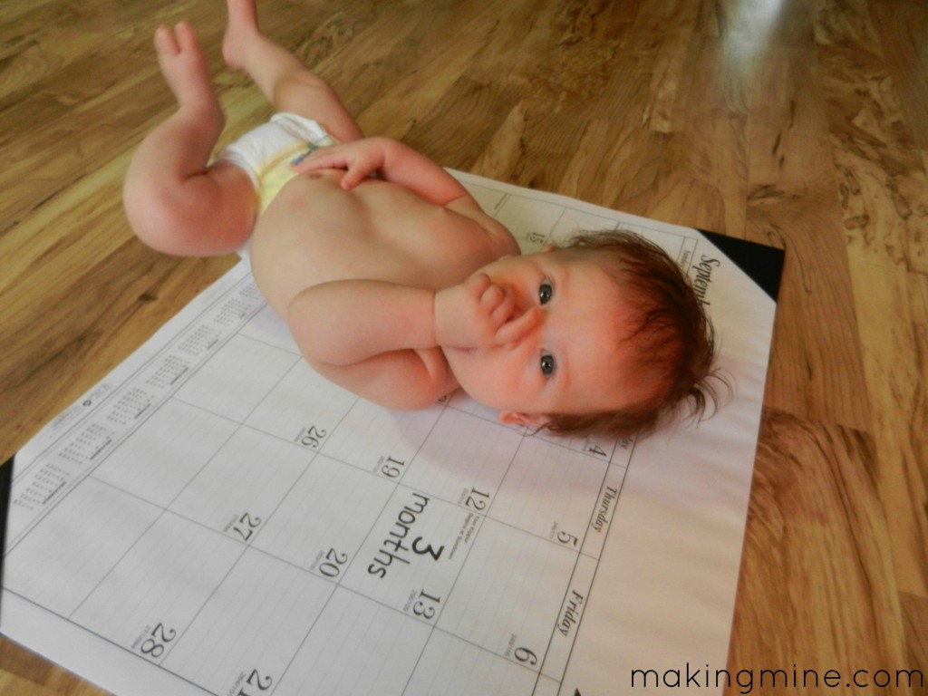 monthly baby update on calendar