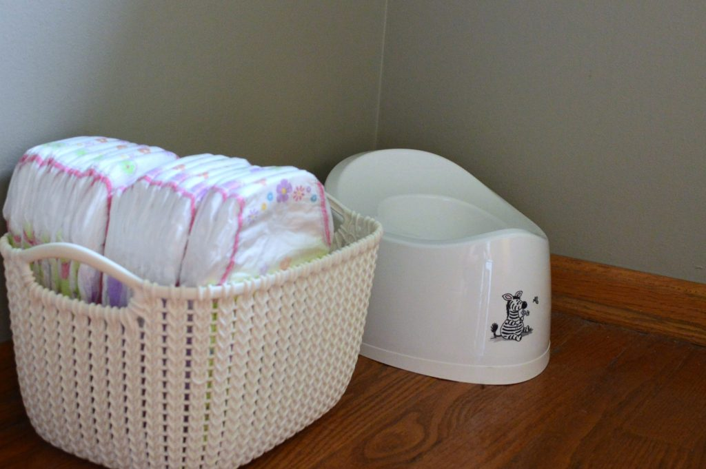 setting up a potty training station with pull ups