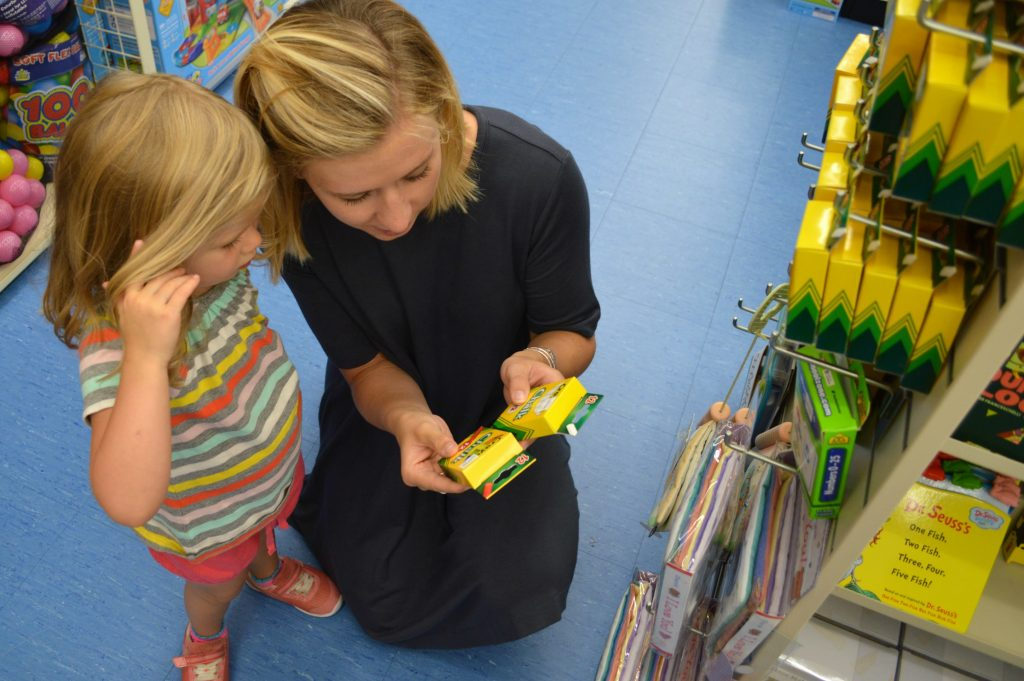 picking out preschool supplies at buybuy BABY