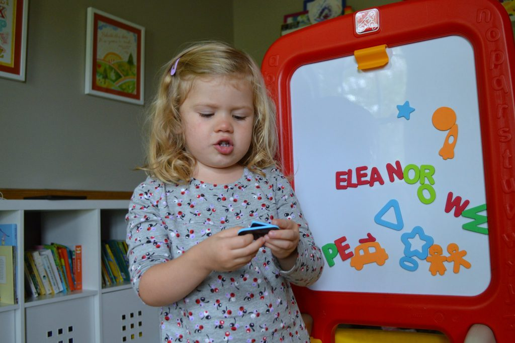 using magnetic letters to reinforce preschool themes at home