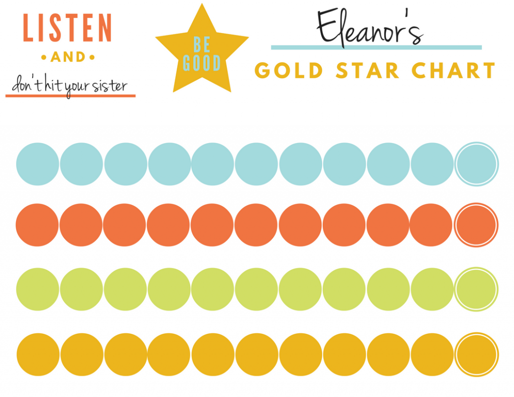 Gold Star Behavior Sticker Chart