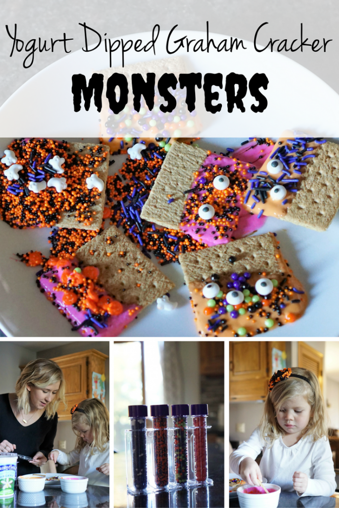 Halloween Snack: Yogurt Dipped Graham Cracker Monsters! Perfect snack for your preschooler to help you make!