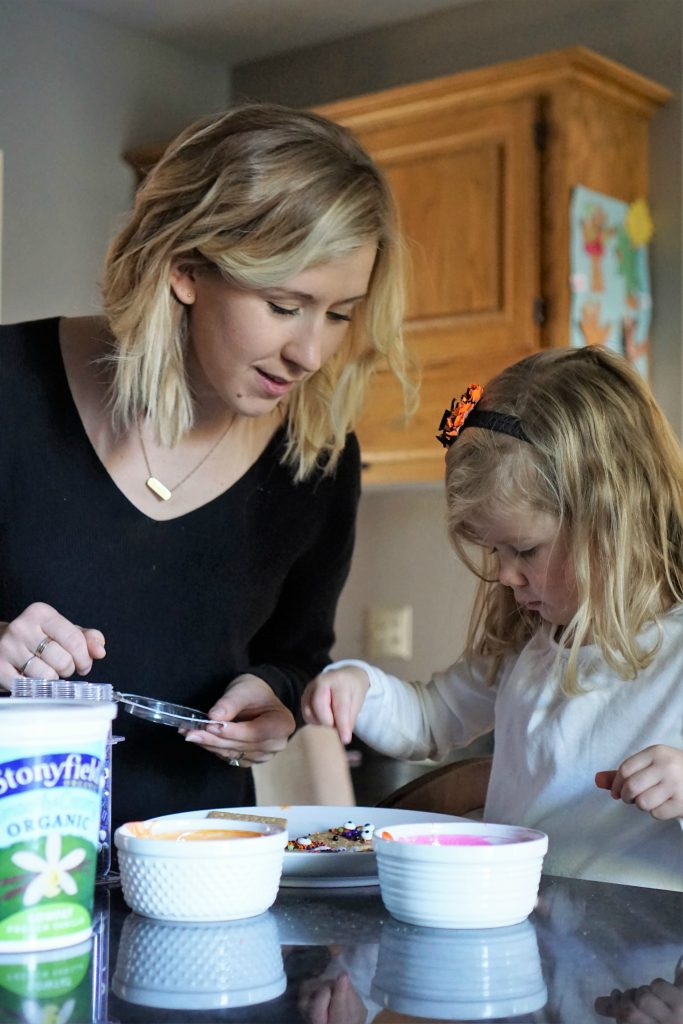 Kid-friendly snack recipe perfect for Halloween: Yogurt Dipped Graham Cracker Monsters