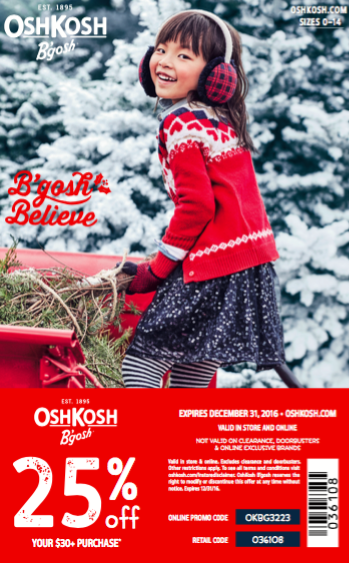 Coupon: OshKosh B'Gosh 25% off your Entire Purchase