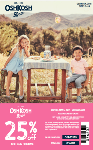 OshKosh B'gosh Spring 2017 Coupon
