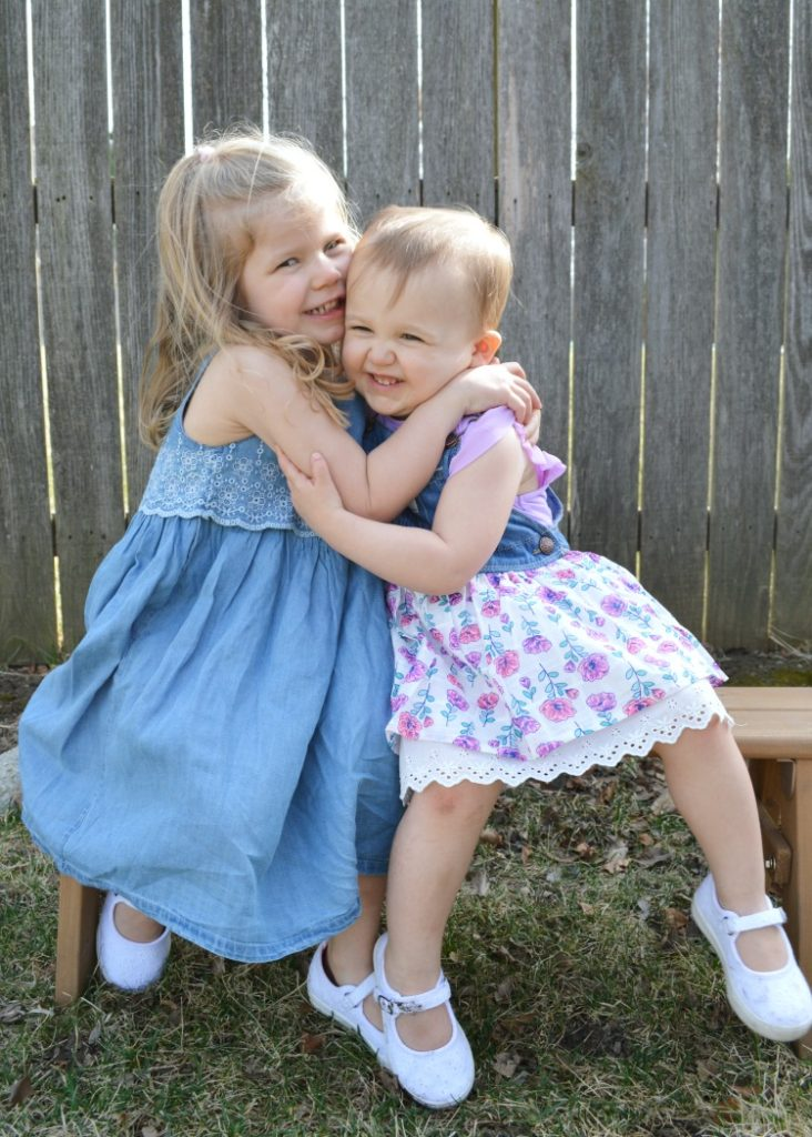 Coordinating Easter dresses for sisters