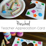 "Easy Preschool Teacher Appreciation Card: Have you preschooler make this easy DIY to show how much they appreciate their teacher! The design and saying are a cute play on the shapes our little ones learn during their preschool year! ""It takes a BIG heart to shape little minds!"""