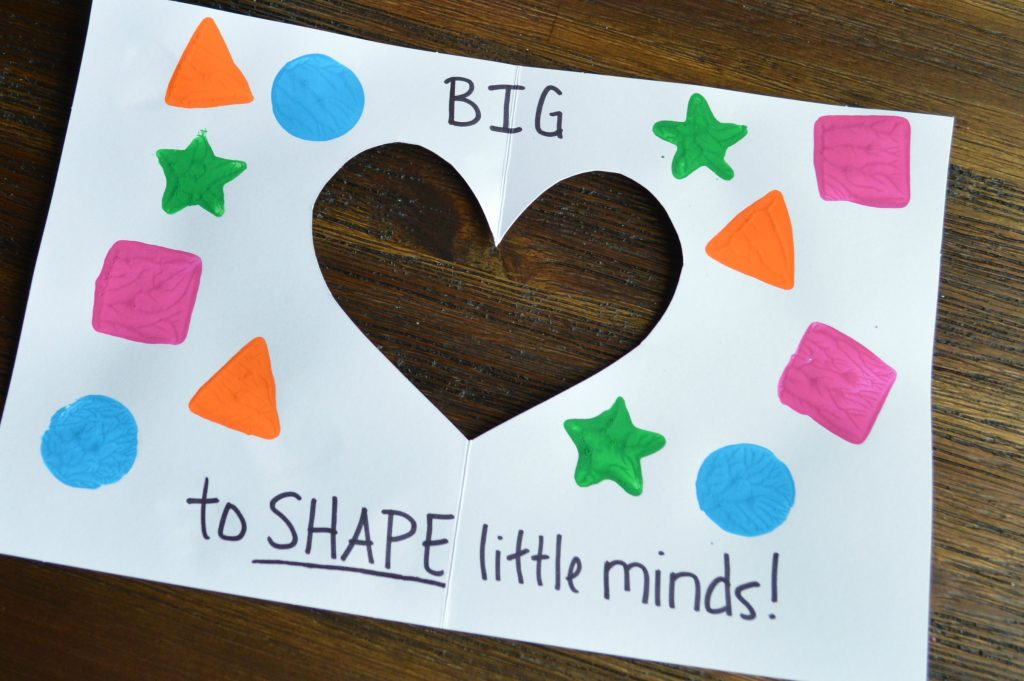 """It takes a BIG heart to SHAPE little minds"" Preschool Teacher Appreciation Card"