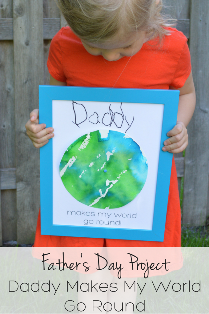 "This DIY Father's Day gift is a fun craft for kids of all ages! The world actually spins! ""Daddy makes my world go round"""