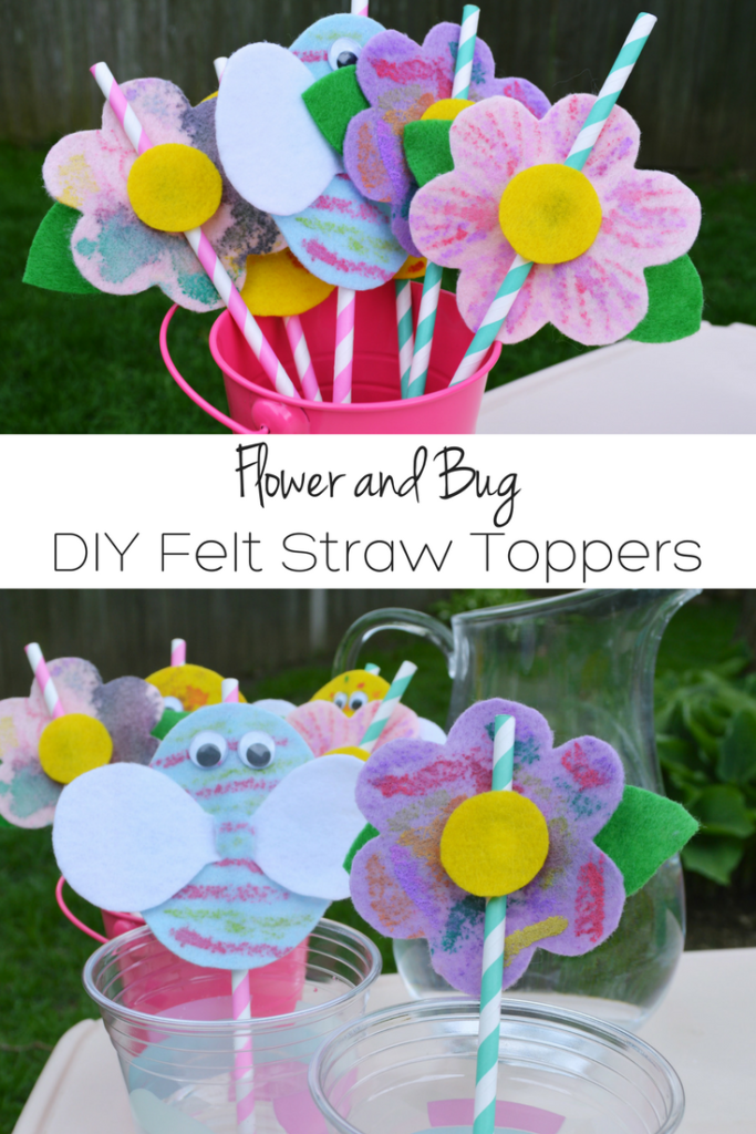 Make these easy and cute DIY felt flower and bug straw toppers for your next picnic! Perfect activity for preschoolers and kids of all ages!