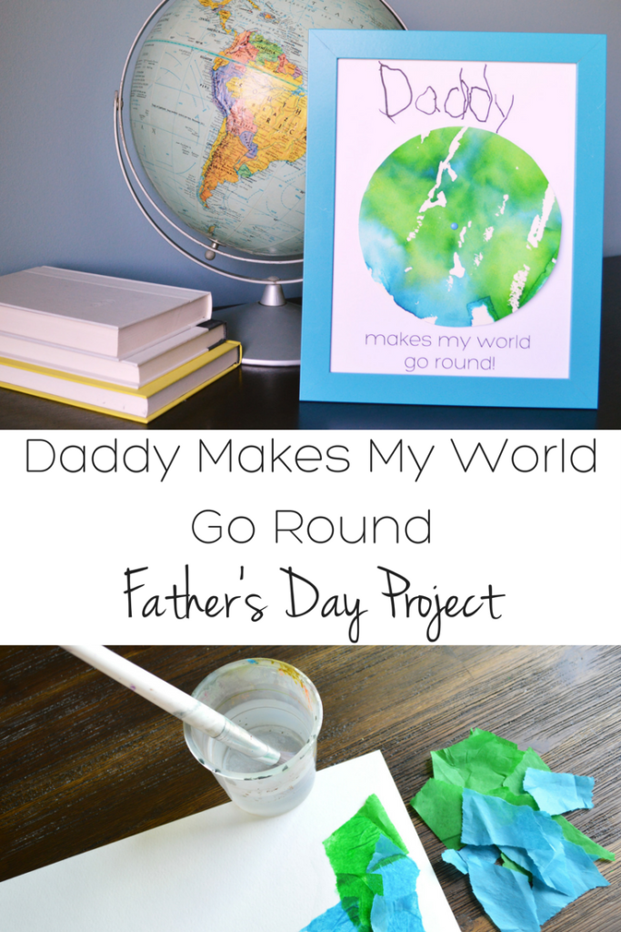 "Your kids will love making this easy DIY Father's Day craft for dad! The world actually spins! Dad will love displaying this ""Daddy makes my world go round"" gift"
