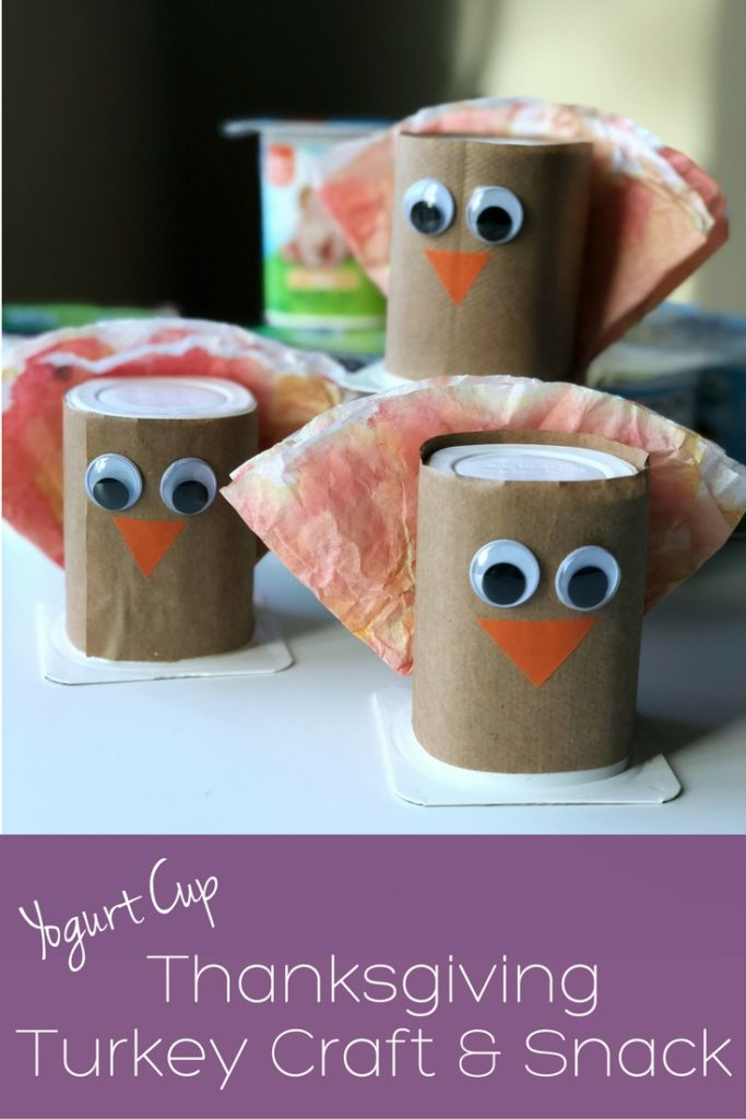 How to make a yogurt cup Thanksgiving turkey craft and snack