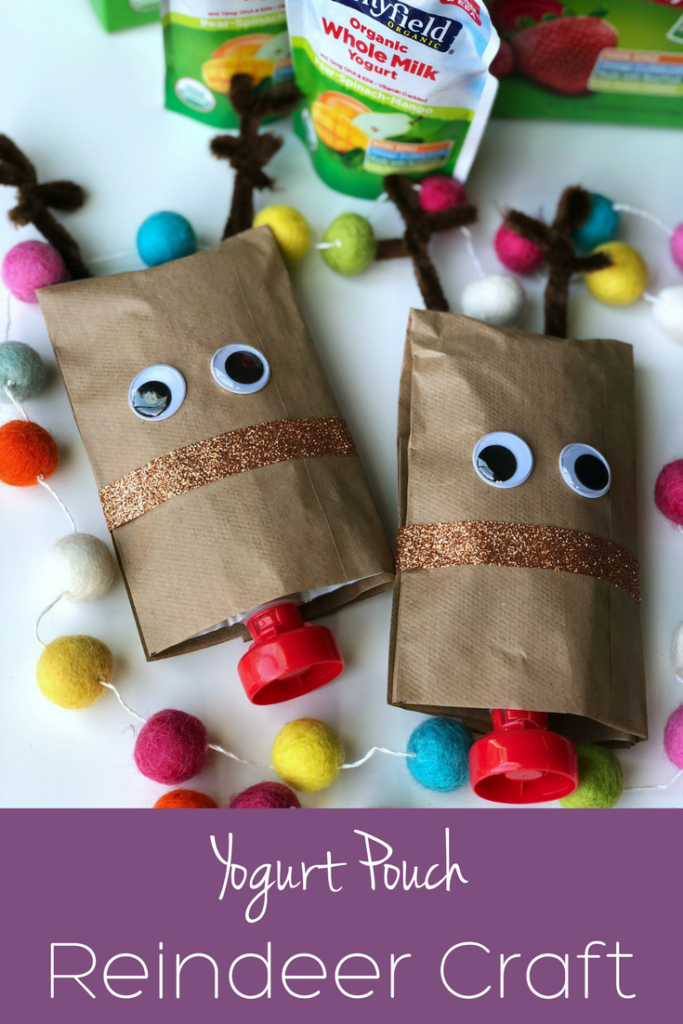 This adorable yogurt pouch reindeer craft (and snack) is perfect for Christmas!